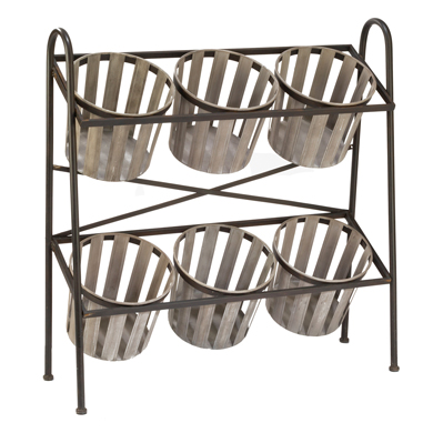 2-Tier Metal Display With 6 Removable Baskets