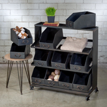 Black Metal Storage Bin Display Cart