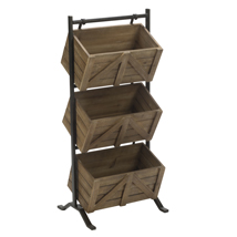 3-Tier Rustic Wooden Crate Floor Standing Display