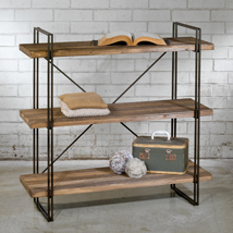 Modern Industrial Metal And Wood Shelving Display