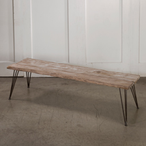Rustic Weathered Wood Bench Display Table