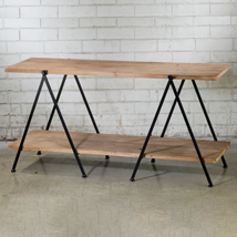 Contemporary 2-Tier Solid Wood Display Table
