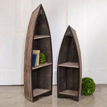 Set of 2 Wood Boat Upright Display Case