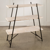 3-Tiers of Wood Shelves Floor Standing Display