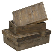 Reclaimed Wood Organizer Boxes With Covers - Set Of 2