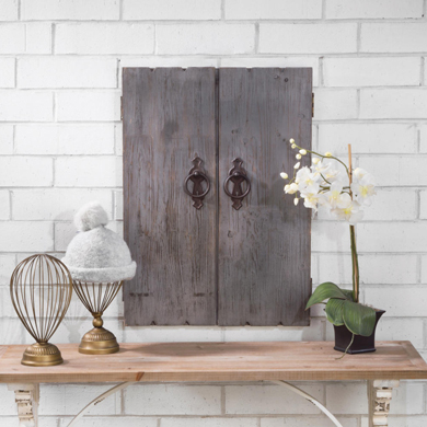 Small Rustic Wood Jewelry Wall Cabinet Display - Grey