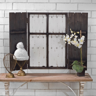 Small Rustic Wood Jewelry Wall Cabinet Display - Black