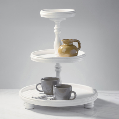 3-Tier Wooden Round Tray Tabletop Display