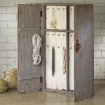 Large Rustic Wood Jewelry Wall Cabinet Display - Grey