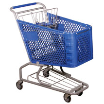 Blue Plastic Grocery Shopping Cart