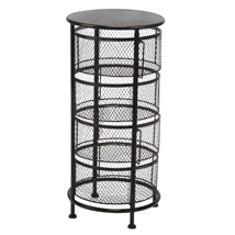 Black Mesh 4-Tier Round Bin Display