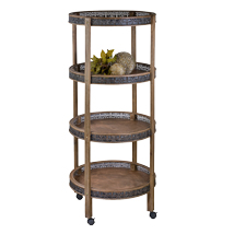 Rustic Wood 4 Round Shelves Mobile Display