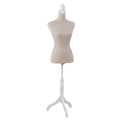 Cream Linen Fabric Covered Dress Form - Female