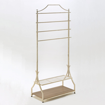 Cream Clothing Rack With Bottom Shelves