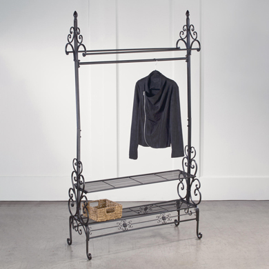 Dark Brown Scrolled Metal Clothing Rack With 2 Shelves