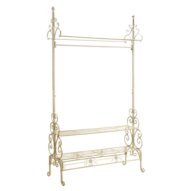 Cream Scrolled Metal CLOTHING Rack with 2 Shelves