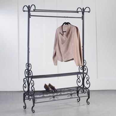 Scrolled Metal Clothing Rack with 2 Shelves