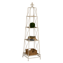 Distressed White Metal 4-Tier Stackable Stand