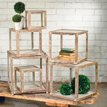 Distressed Wood Cube Riser Pedestals - Set of 6