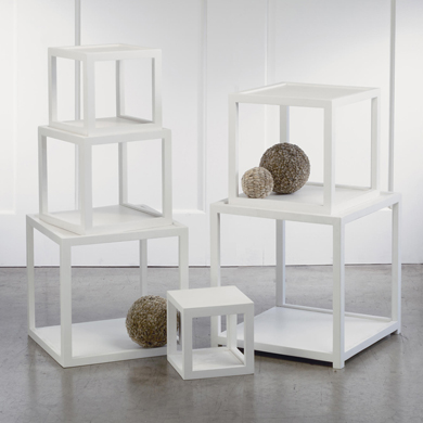 White Wood Cube Riser Pedestals - Set Of 6