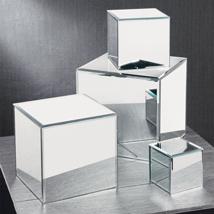 Glass Mirror Cube Riser Pedestals - Set Of 4