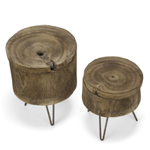 Set Of 2 Natural Wood Tree Stump Tables With Storage