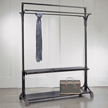 Black Industrial Clothing Rack With Two Shelves
