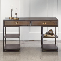Antiqued Bronze Metal Desk Table With Shelves