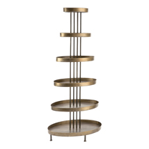 6 Tier Oval Metal Tray Tower Display