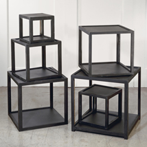 Black  Wood Cube Riser Pedestals - Set Of 6