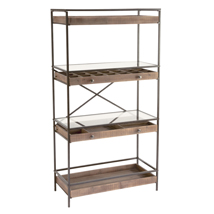 Mixed Material Shelving Unit with Wood Drawers