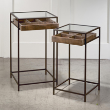 Set of 2 Mixed Material Side Tables with Wood Drawers