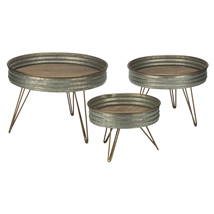 Set of 3 Industrial Round Display Risers
