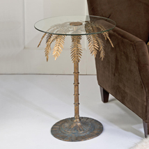 Antique Gold Palm Tree Accent Table