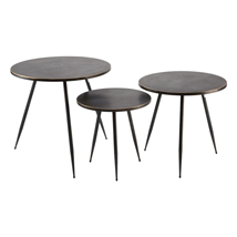 Set of 3 Round Metal Display Tables with Gold Edge