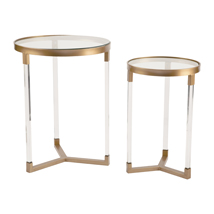 Clear Acrylic Round Table Set with Gold Accents