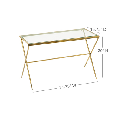Small Gold Metal And Glass Display Table