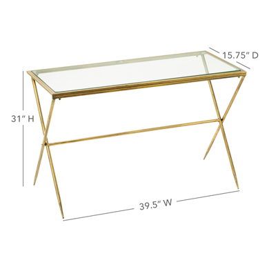 Medium Gold Metal And Glass Display Table