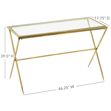 Large Gold Metal And Glass Display Table
