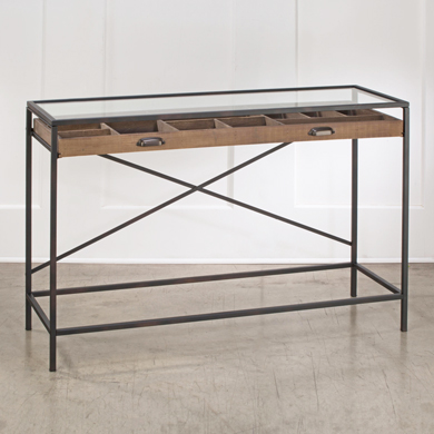 Mixed Material Console Table With Wood Drawers