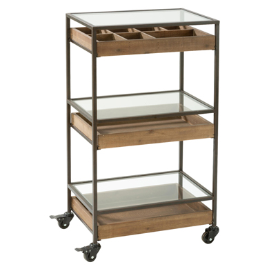 Mixed Material 3 Tier Mobile Cart Display with Wood Drawers
