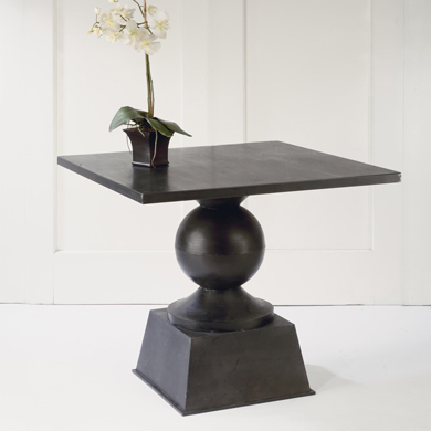 Black Antique Metal Square Display Table