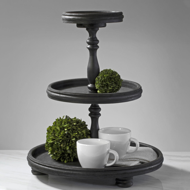 Black 3-Tier Wooden Round Tray Tabletop Display