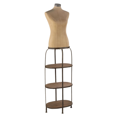 Female Antiqued Mannequin Body Dress Form With 3 Shelves