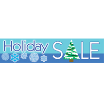Holiday Banner - Blue With Snowflakes And Tree