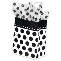 Black Polka Dots Paper Shopping Bags - 100 per carton