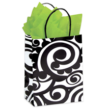 B&W Scroll Pattern Paper Shopping Bags - 100 Per Carton