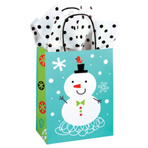 Chilly Chums Snowman Holiday Paper Gift Bags - 100 Per Carton