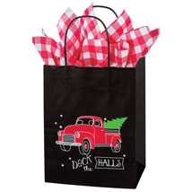 Deck The Halls Holiday Paper Gift Bags - 100 Per Carton