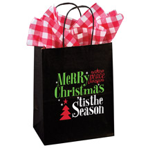Merry Christmas Holiday Paper Gift Bags - 100 Per Carton